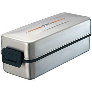 スリムタイプ お弁当箱/ランチボックス 【2段 870ml】 シルバー 大容量 保冷・保温バッグ付き 食洗機対応 『クレズSS』