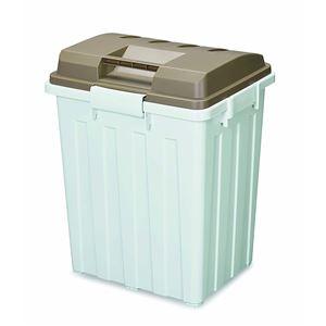 連結ハンドルペール/フタ付きゴミ箱 【ブラウン】 76L 角型 大型 70型 分別 ハンドル付き 日本製