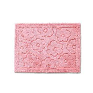 バスマット/フロアマット 【約45×60cm ピンク】 吸水 抗菌 防臭 裏面滑り止め加工 『乾度良好 サニー』