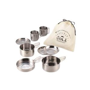 キャンピング鍋セット/アウトドア用品 【8点セット】 ステンレス製 鍋・フライパン・小皿・マグカップ等