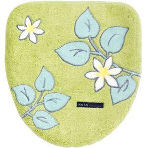 北欧調フタカバー/便座カバー【グリーンドレニモ】普通型、洗浄・暖房型対応可日本製洗える『ノルン』
