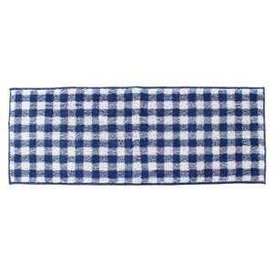 キッチンマット/台所マット【ギンガムチェックブルー】45×180cm長方形洗える防滑『オカ』〔ダイニング〕