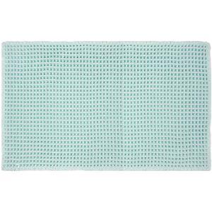 抗菌ワッフルバスマットフロアマット【ブルー】50×80cm洗える防滑高吸水性『オカトー』〔バスルーム脱衣所〕