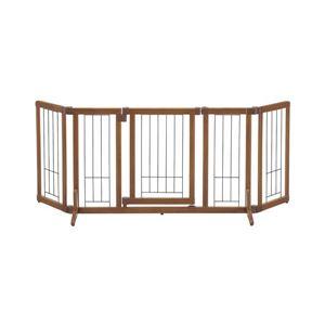 犬用ペットゲート/ペット用品【Mサイズ】幅105〜148cmブラウン木製おくだけドア付きゲート『リッチェル』