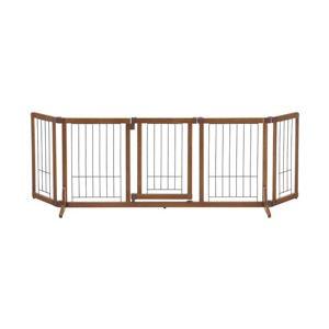 犬用ペットゲート/ペット用品【Lサイズ】幅140〜183cmブラウン木製おくだけドア付きゲート『リッチェル』