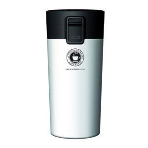 真空断熱タンブラー/水筒【パールホワイト】370mlステンレスワンプッシュオープンロック付きスリム仕様『アスベル』