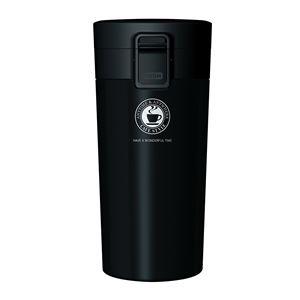 真空断熱タンブラー/水筒【ブラック】370mlステンレスワンプッシュオープンロック付きスリム仕様『アスベル』