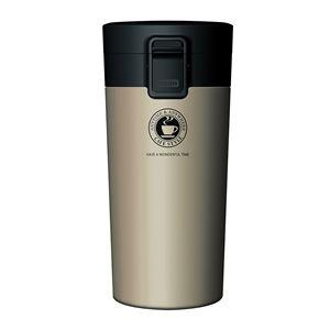 真空断熱タンブラー/水筒【シャンパンゴールド】370mlステンレスワンプッシュオープンロック付きスリム仕様『アスベル』