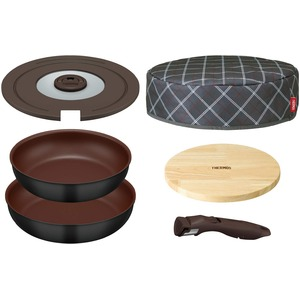 サーモス取っ手のとれるフライパン6点セットブラック(BK)(フライパン26cm・28cm/専用取っ手/専用フタ/木製フレート付き保温カバー)KFA-SET6