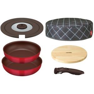 【サーモス】取っ手のとれるフライパン6点セット【レッド】内径26・28cmIHガス食洗機可蓋保温カバー木製プレート付