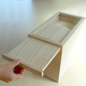 桐の米びつ/ライスストッカー 【10kg用/無地】 スライド開閉式 泉州留河 日本製