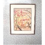 中島千波 紅白梅  豪華額装 アートポスター 日本製