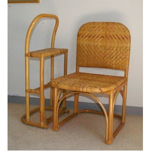 籐チェア&おつかまり楽々セット 立ち座り補助 膝楽