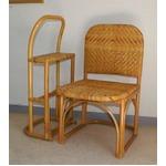 籐チェア&おつかまり楽々セット 立ち座り補助 膝楽  の画像