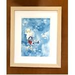 アートポスター いわさきちひろ 「夏の宵の白い花」 マット付き本格的豪華額装 日本製