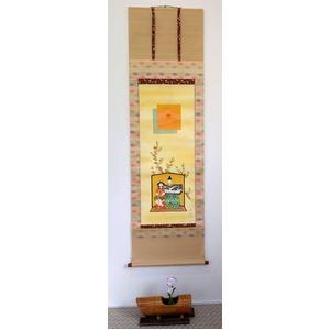 肉筆掛軸 立雛 大谷秀月作 日本製 桐箱収納 美術年鑑掲載画家