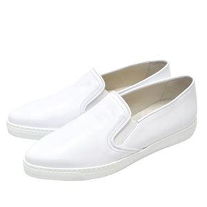 BOEMOS イタリア製 本革ポインテッドトゥ スリッポン レディースシューズ WHITE(白) 38サイズ(約24.5〜25cm) - 拡大画像