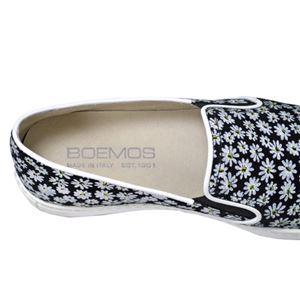 BOEMOS イタリア製 花柄ポインテッドトゥ スリッポン レディースシューズ NERO(黒) 37サイズ(約23.5~24cm)