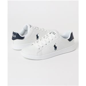 POLO RALPH LAUREN QUINCEY COURT スニーカー WHITENAVY サイズ:24.5cm