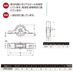 【20個入】 LP戸車/車輪 【鉄枠 平型】 車輪径:30mm ポリアセタール使用 〔住宅 金物 工具〕 LPM-0302