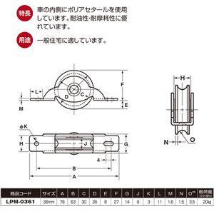 【20個入】 LP戸車/車輪 【鉄枠 丸型】 車輪径:36mm ポリアセタール使用 〔住宅 金物 工具〕 LPM-0361
