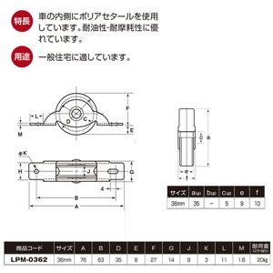 【20個入】 LP戸車/車輪 【鉄枠 平型】 車輪径:36mm ポリアセタール使用 〔住宅 金物 工具〕 LPM-0362
