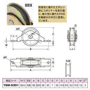 【20個入】 引き戸用 戸車/車輪 【丸型 車輪径:36mm】 形状:丸型 防音ゴールド戸車 〔金物 工具〕 YBM-0301