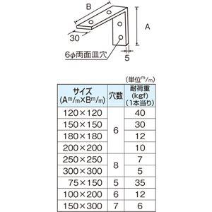 ウルトラ棚受 (ステンL型金具) 100×200mm [6本入]