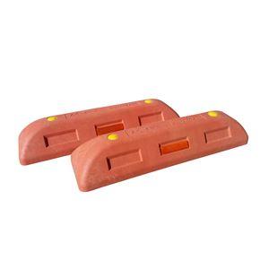 【2本セット】リサイクル車止め/エコストップ【高さ100mm赤色】反射プレート付きスクリューアンカーセット