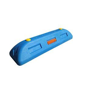 【2本セット】 リサイクル車止め/エコストップ 【高さ100mm 青色】 反射プレート付き スクリューアンカーセット
