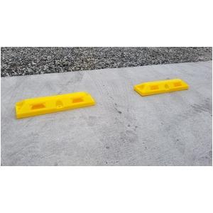 リサイクル車止め/パーキングストップ2本セット 【高さ80mm 黄色】 反射プレート付き スクリューアンカーセット