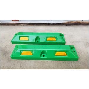リサイクル車止め/パーキングストップ2本セット 【高さ80mm 緑色】 反射プレート付き スクリューアンカーセット