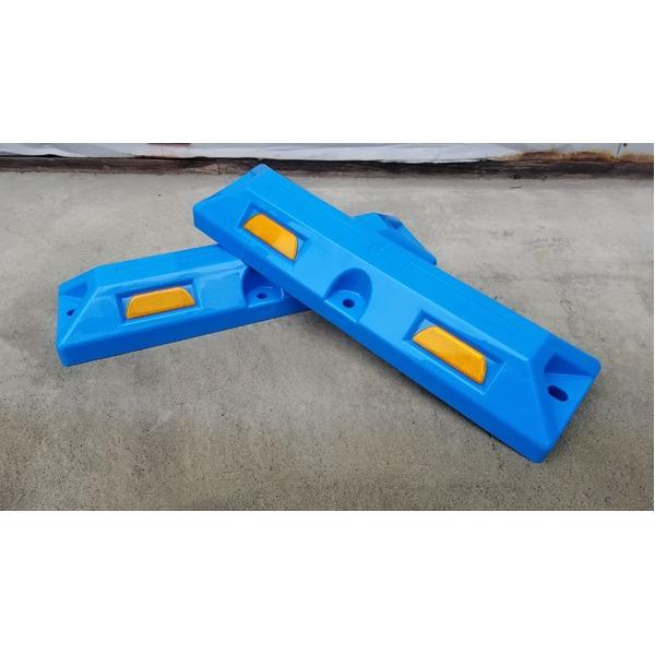 リサイクル車止め/パーキングストップ12本セット 【高さ80mm 青色】 反射プレート付き スクリューアンカーセット