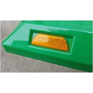 リサイクル車止め/パーキングストップ12本セット 【高さ80mm 緑色】 反射プレート付き スクリューアンカーセット