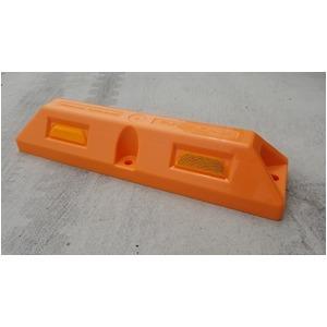リサイクル車止め/パーキングストップ12本セット 【高さ100mm オレンジ色】 反射プレート付き スクリューアンカーセット