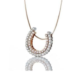 ピンクダイヤモンド(0.17ct)&ダイヤモンド(0.3ct)ホースシューネックレス プラチナPT900&18Kピンクゴールド 鑑別書付き