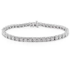 ダイヤモンド(0.25ct I3透明度)ブレスレット、17.78センチ、スターリングシルバー