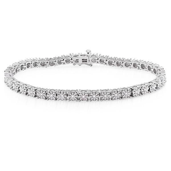 ダイヤモンド(0.25ct I3透明度)ブレスレット、17.78センチ、スターリングシルバーf00