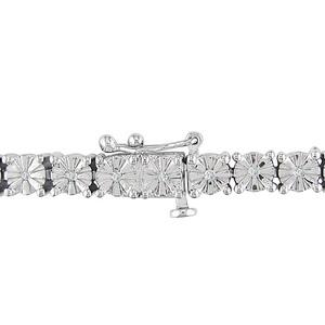 ダイヤモンド(0.25ct I3透明度)ブレスレット、17.78センチ、スターリングシルバー h02