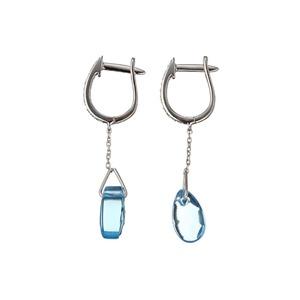 ダイヤモンド(0.05ct SI2カラー IJ透明度)&ブルートパーズ(3.23ct) ドロップスイング ピアス、18Kホワイトゴールド 鑑別書付