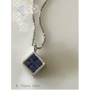 ダイヤモンド(0.14ct I2カラー IJ透明度)&サファイア(0.28ct) ツーウェイ ペンダントネックレス、18Kホワイトゴールド 鑑別書付