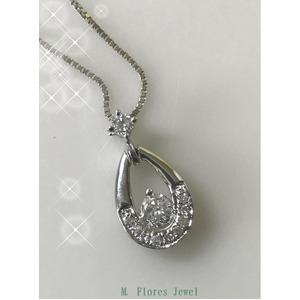 ダイヤモンド(0.15ct I1カラー GH透明度)スイング ペンダントネックレス、18Kホワイトゴールド 鑑別書付