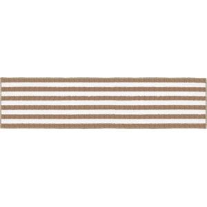 ボーダー柄インテリアマット/キッチンマット 【45×252cm ベージュ】 洗える 裏面:すべり止め加工 『チョイスプラス』