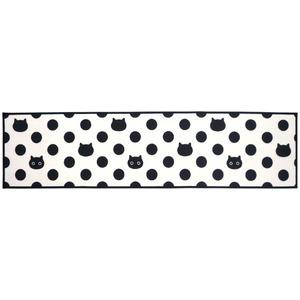 アラモード キッチンマット/台所マット 【45×180cm ドットネコ】 洗える すべり止め加工 ナイロン素材使用
