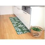 吸着キッチンマット リーフ 45×240cm グリーンの画像