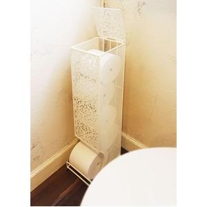 トイレットペーパーストッカー/トイレ収納ラック 【5ロール収納】 ホワイト スチール製 『ファミーユ』