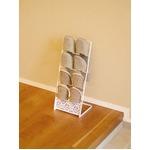 折りたたみスリッパスタンド/スリッパラック 【ホワイト】 スチール製 スリム収納 『ファミーユ』 の画像