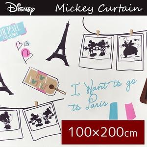 ディズニー ミッキーマウス カーテン 2枚組 100×200cm ホワイト タッセル付き 洗える 形状記憶 ドレープカーテン  ミッキーPA
