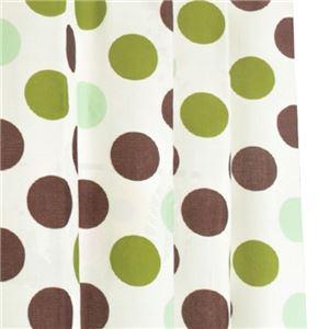 12種類から選べる 間仕切りカーテン 巾60-110×丈178cm グリーン ドット柄 間仕切り タッセル付き フック付き リングランナー付き ラウンドドット
