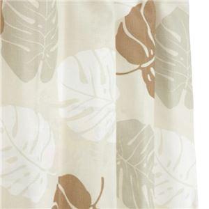 12種類から選べる 間仕切りカーテン 巾60-110×丈200cm ベージュ モンステラ柄 間仕切り タッセル付き フック付き リングランナー付き ラウンドモンステラ